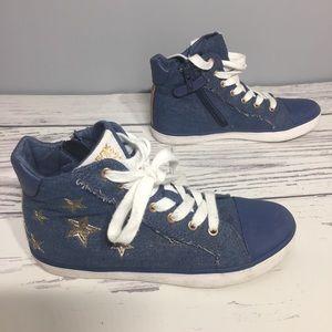 Geox Girls jean/golden stars sneakers